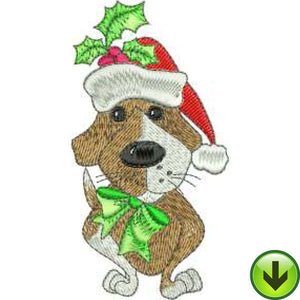 Holly Dog Embroidery Design | DOWNLOAD