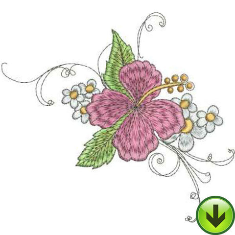 Hibiscus Bouquet Embroidery Design | DOWNLOAD