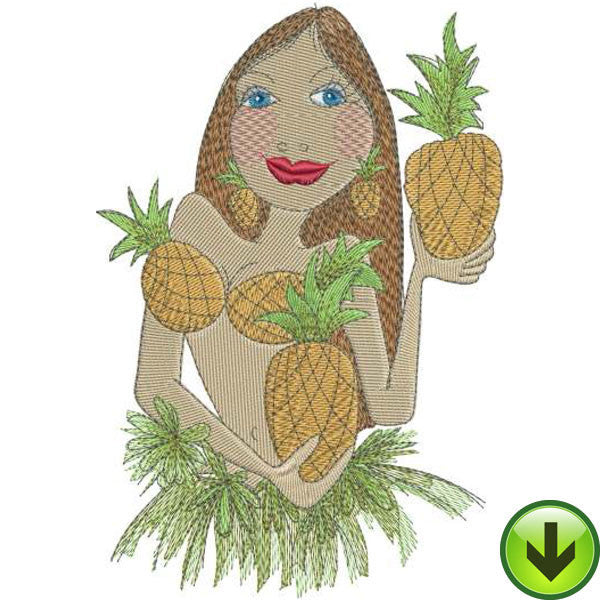 Pineapple Princess Embroidery Design | DOWNLOAD