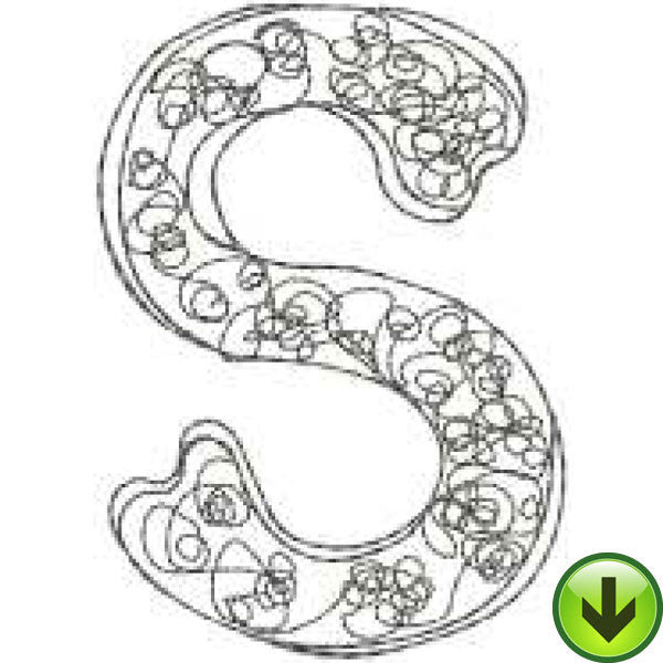 S - Doodle Alphabet - Upper Case Embroidery Design | DOWNLOAD