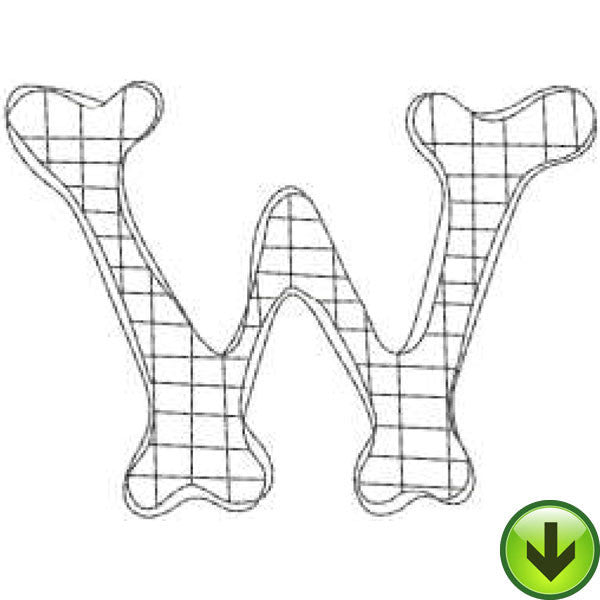 W - Doodle Alphabet - Upper Case Embroidery Design | DOWNLOAD