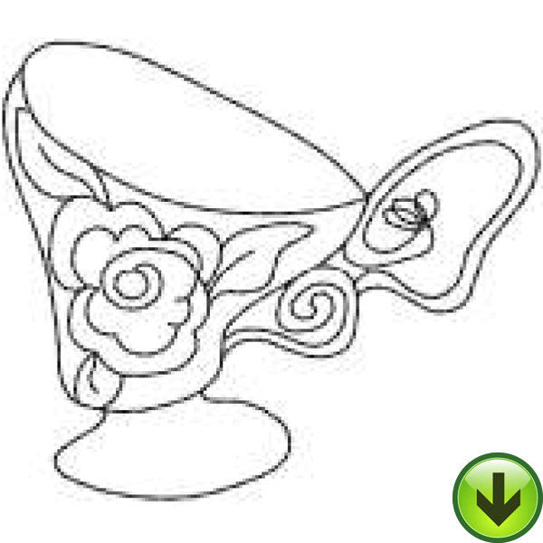 Rose Cup Embroidery Design | DOWNLOAD