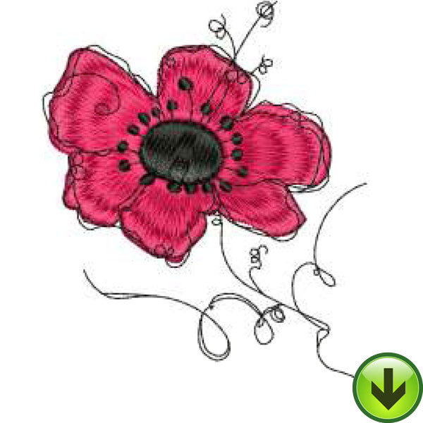 Poppy 2 Embroidery Design | DOWNLOAD