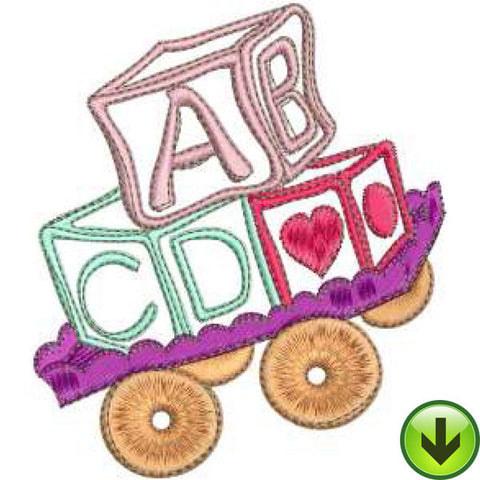 Cart O' Blocks Machine Embroidery Design | Download