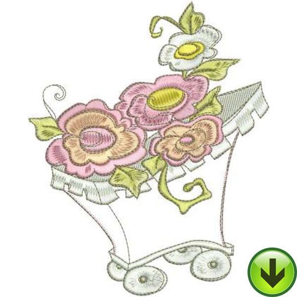 Flower Wagon Machine Embroidery Design | Download