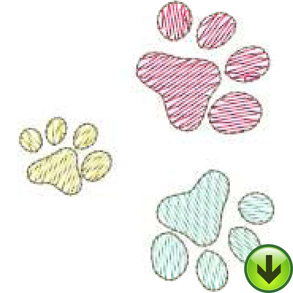 Paw Prints Machine Embroidery Design | Download