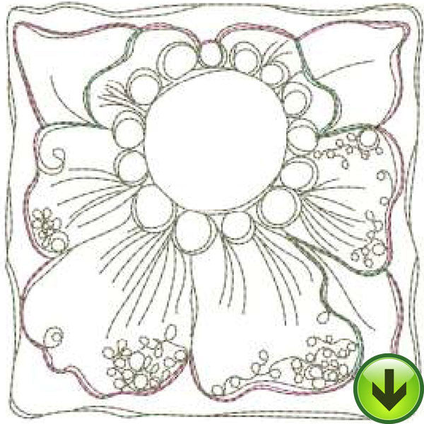 Hibiscus Tile Machine Embroidery Design | Download