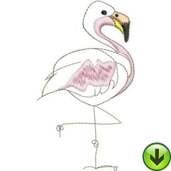 Flamingo Machine Embroidery Design | Download