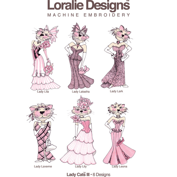 Lady Cats 3 Embroidery Machine Design Collection