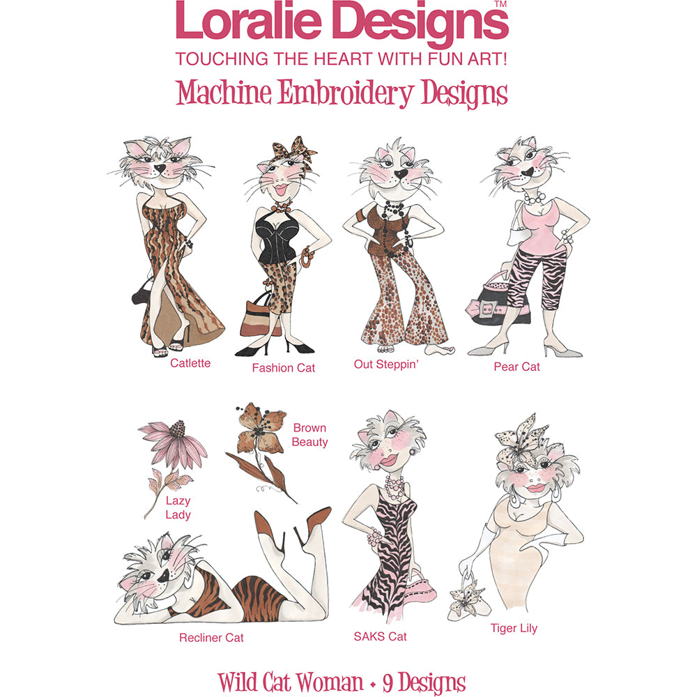 Wild Cat Woman Embroidery Machine Design Collection