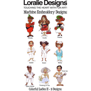 Colorful Ladies 2 Embroidery Machine Design Collection