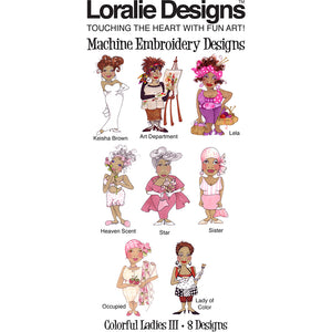 Colorful Ladies 3 Embroidery Machine Design Collection