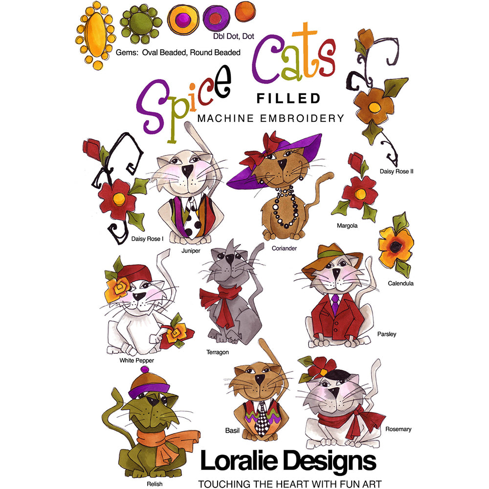Spice Cats Filled Embroidery Machine Design Collection