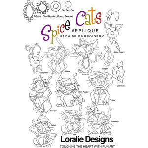 Spice Cats Openwork & Applique Embroidery Machine Design Collection