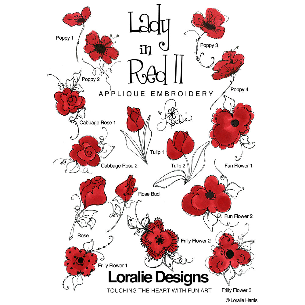 Lady in Red 2 Embroidery Machine Design Collection