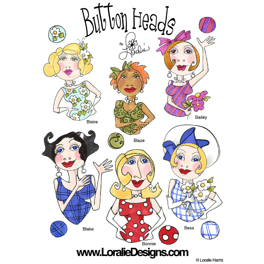 Button Heads 1 Embroidery Machine Design Collection