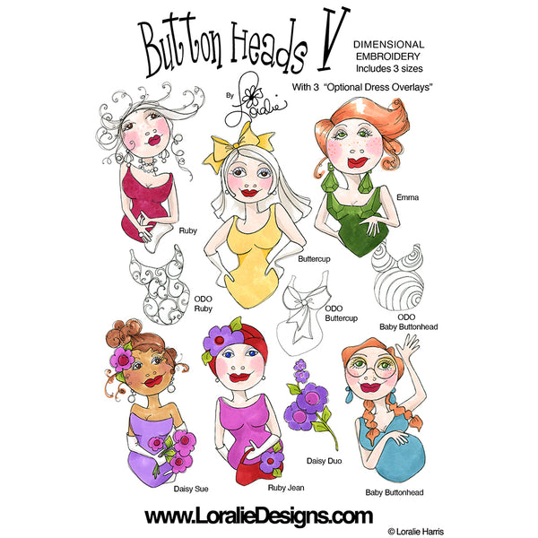 Button Heads 5 Embroidery Machine Design Collection