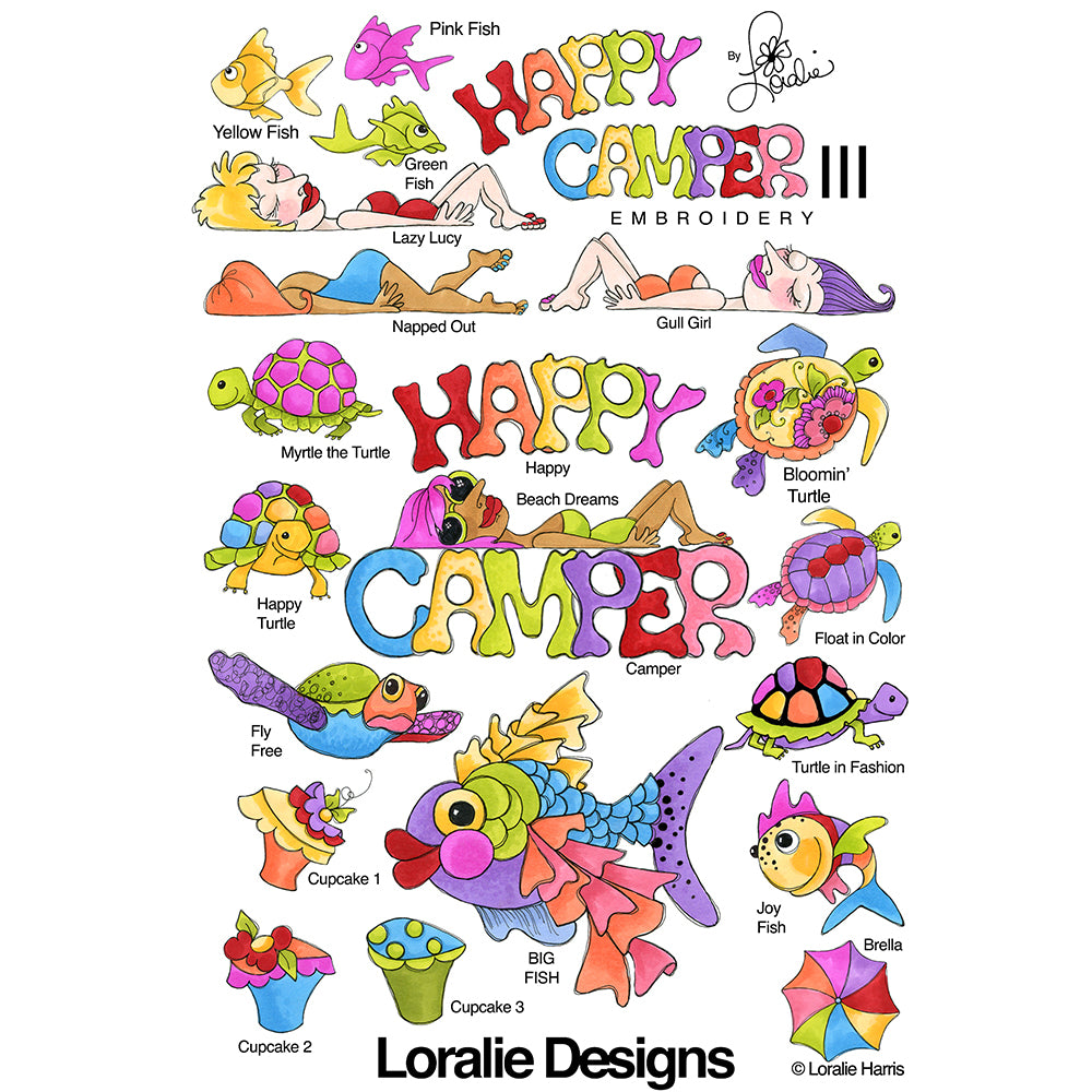 Happy Camper 3 Embroidery Machine Design Collection