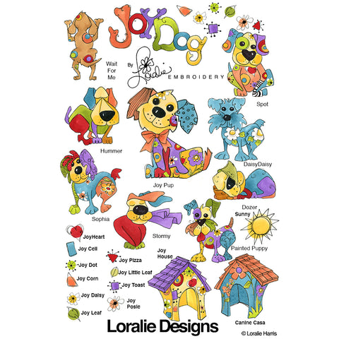 Joy Dog Embroidery Machine Design Collection