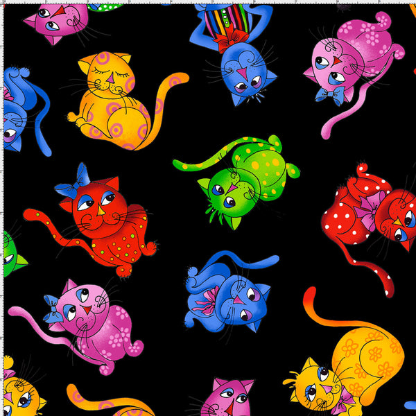Tossed Cool Cats Black Fabric Yard