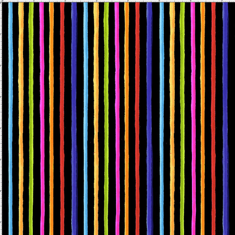 Happy Stripe Black Fabric