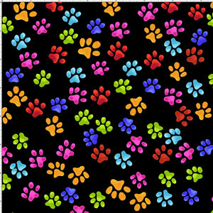 Paws Black Fabric