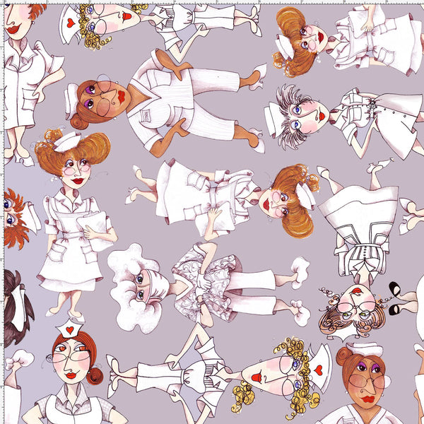 Tossed Nurses Gray Fabric Gray Nurse Fabrics Loralie