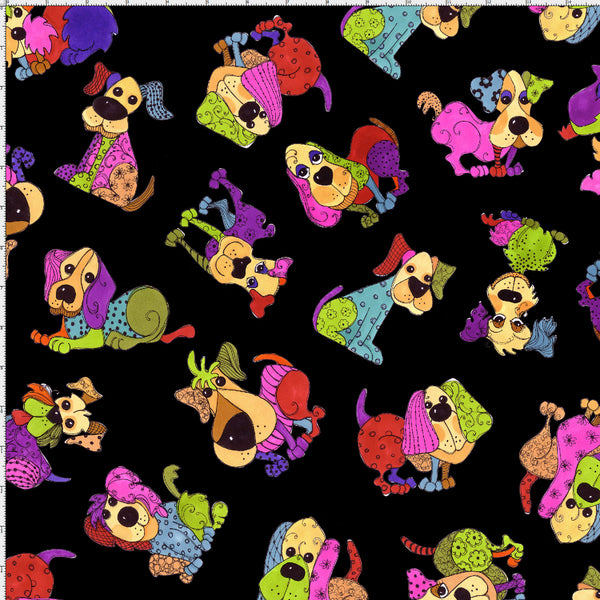 Tossed Happy Dogs Black Fabric Yard