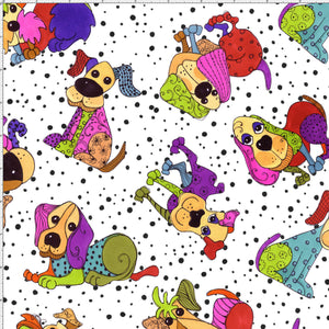 Tossed Happy Dogs White Fabric