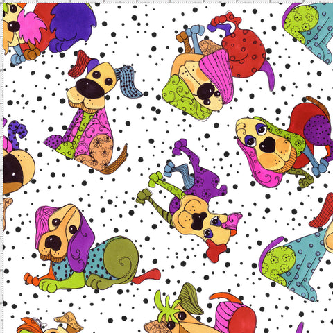 Tossed Happy Dogs White Fabric Yard