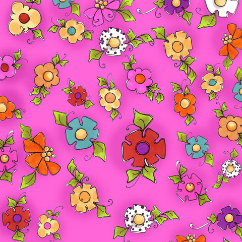 Happy Blooms Cerise Fabric Yard