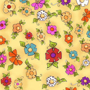 Happy Blooms Yellow Fabric