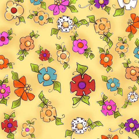 Happy Blooms Yellow Fabric Yard