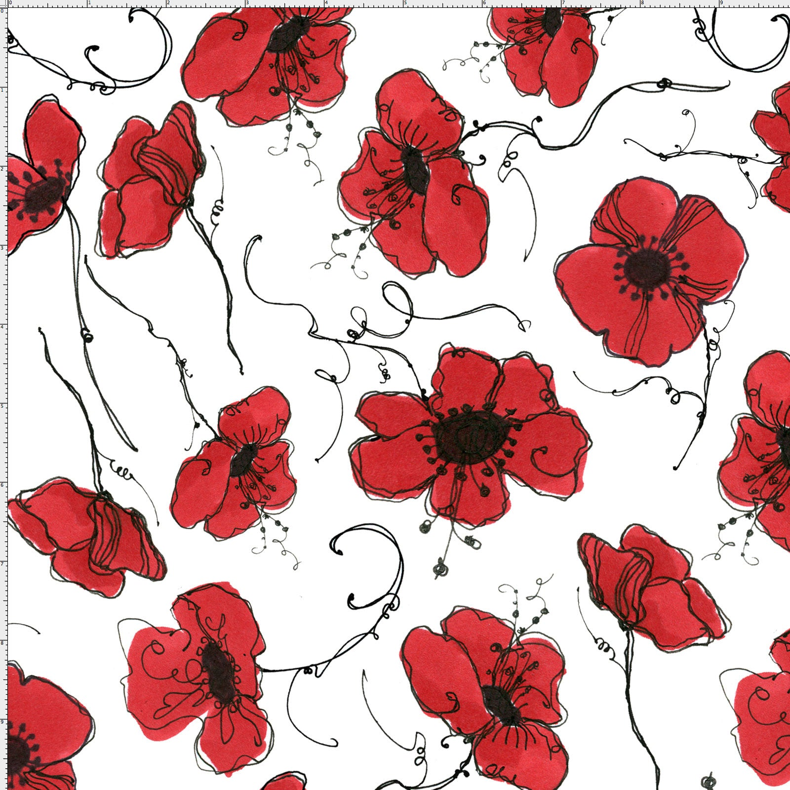 Poppies White Fabric Yard