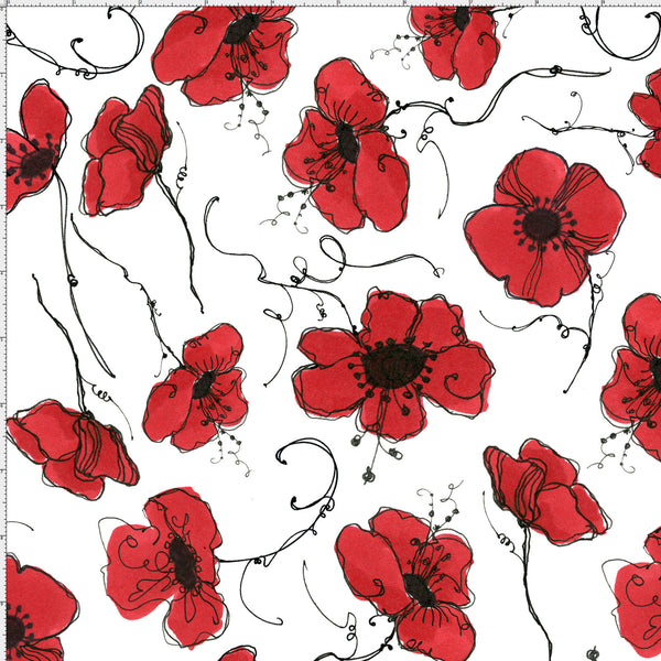 Poppies White Fabric White And Red Flower Fabrics