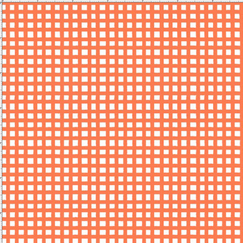 Chipper Check Orange Fabric Yard
