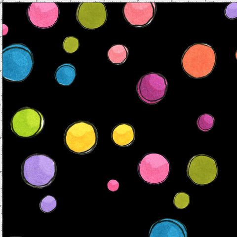 Dream Dots Black Fabric