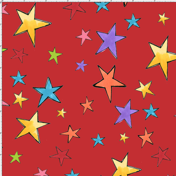 Stars Red Fabric Yard