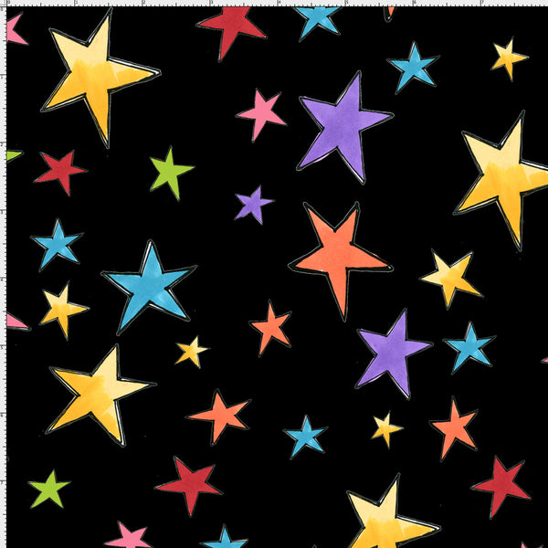 Stars Black Fabric Yard
