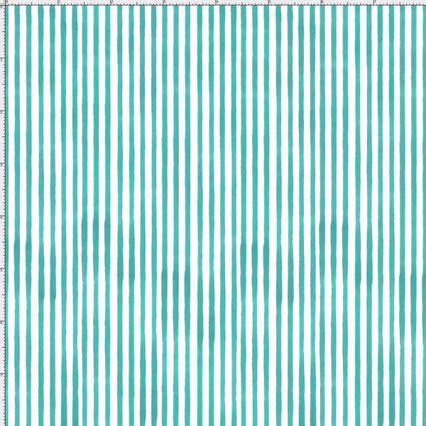Lazy Stripe Turquoise / White Fabric Yard