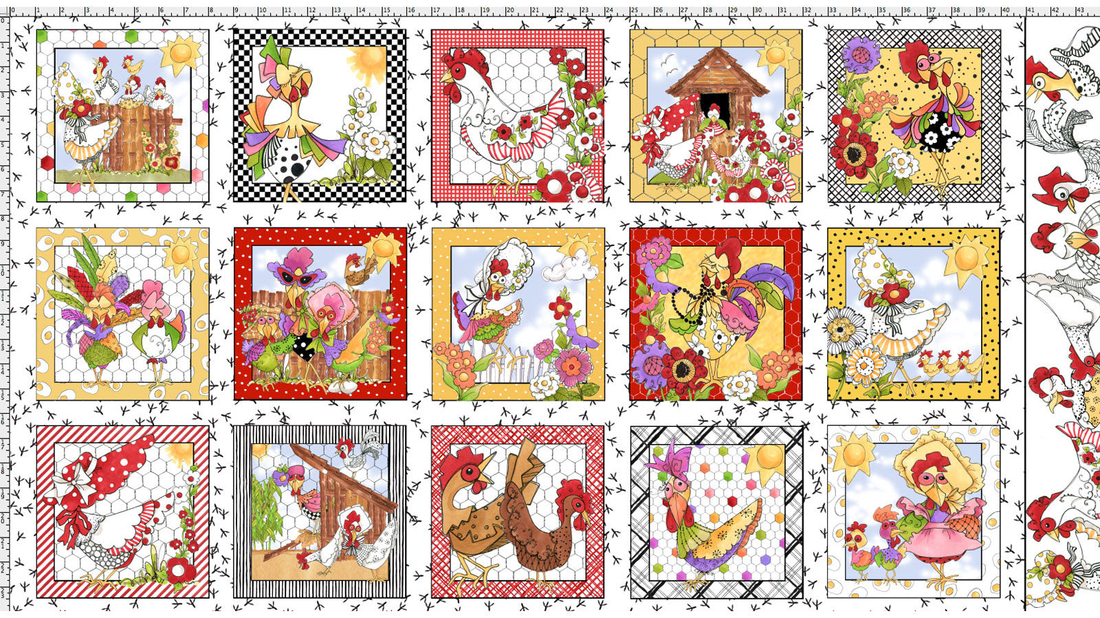 Chicken Chique Fabric Panel