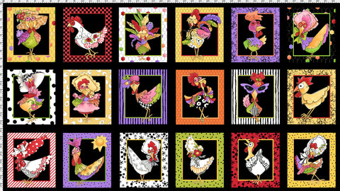 Chicken Chique Portrait Fabric Panel