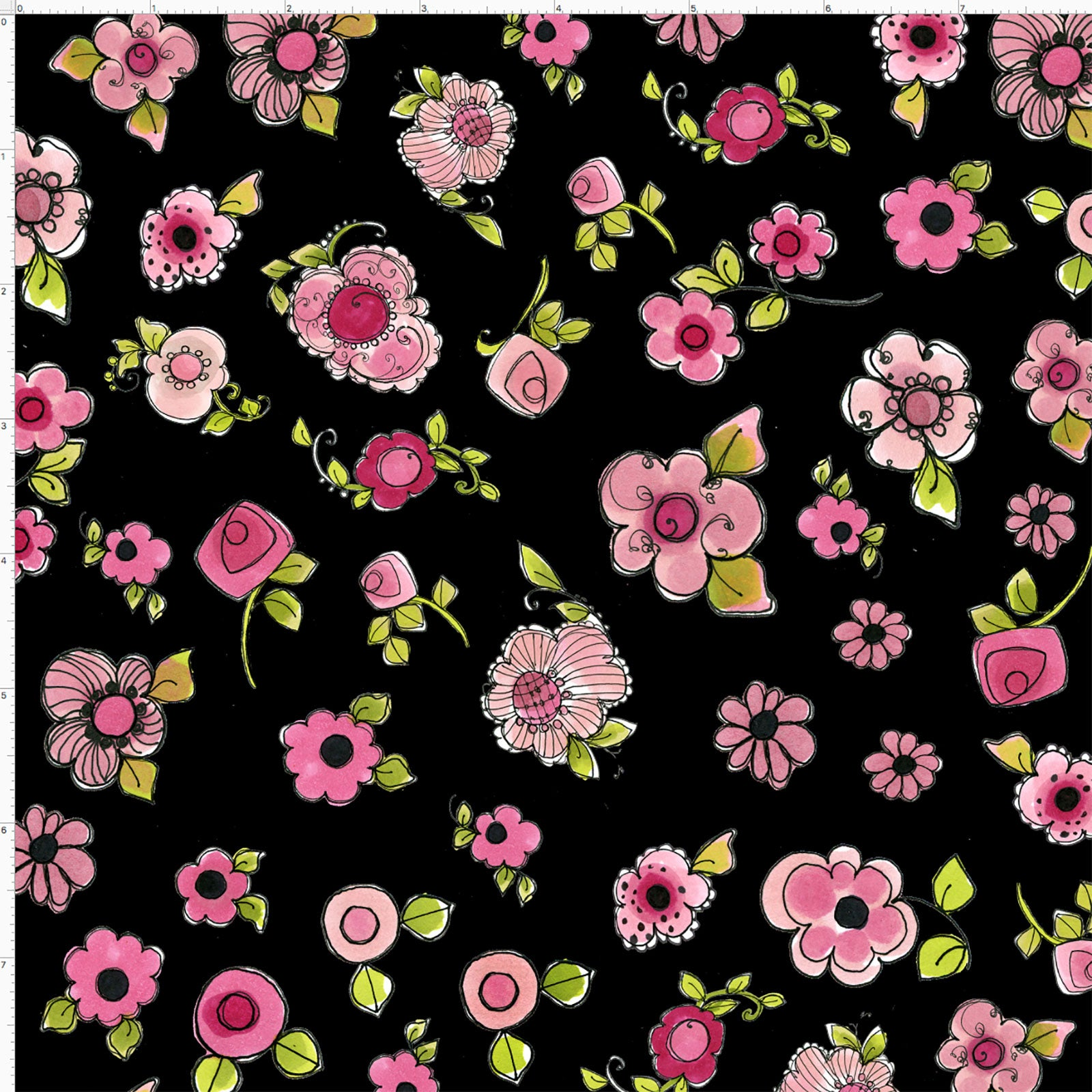 Parlor Posies Black Fabric