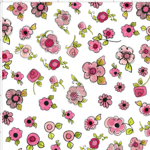 Parlor Posies White Fabric