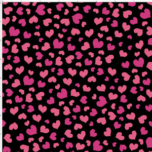 Mini Hearts Black Fabric