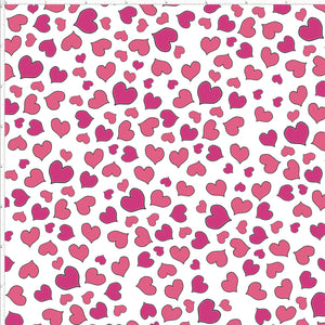 Mini Hearts White Fabric