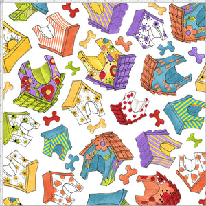 Happy Houses White Fabric