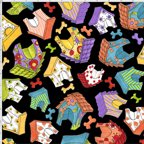 Happy Houses Black Fabric