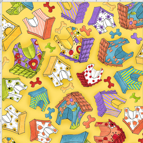 Happy Houses Yellow Fabric