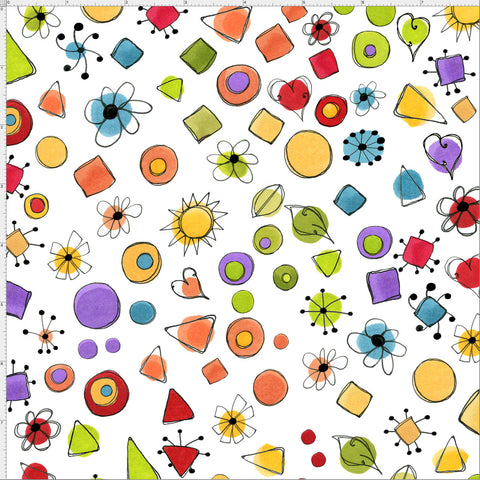 Joy Dots White Fabric